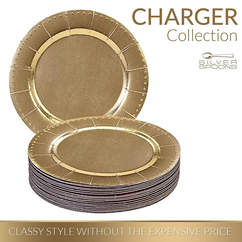 Silver Spoons Conjunto DE 20 BANDEJAS Redondas Desechables | 20 Bandejas | Bandejas de cartón Resistente | Elegante Acabado Plateado metálico (Charger ...
