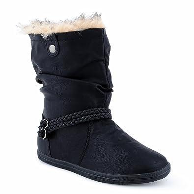 size 40 c6219 badcd Fusskleidung Damen Schlupf Stiefeletten Stiefel Flach Warm Gefüttert Boots