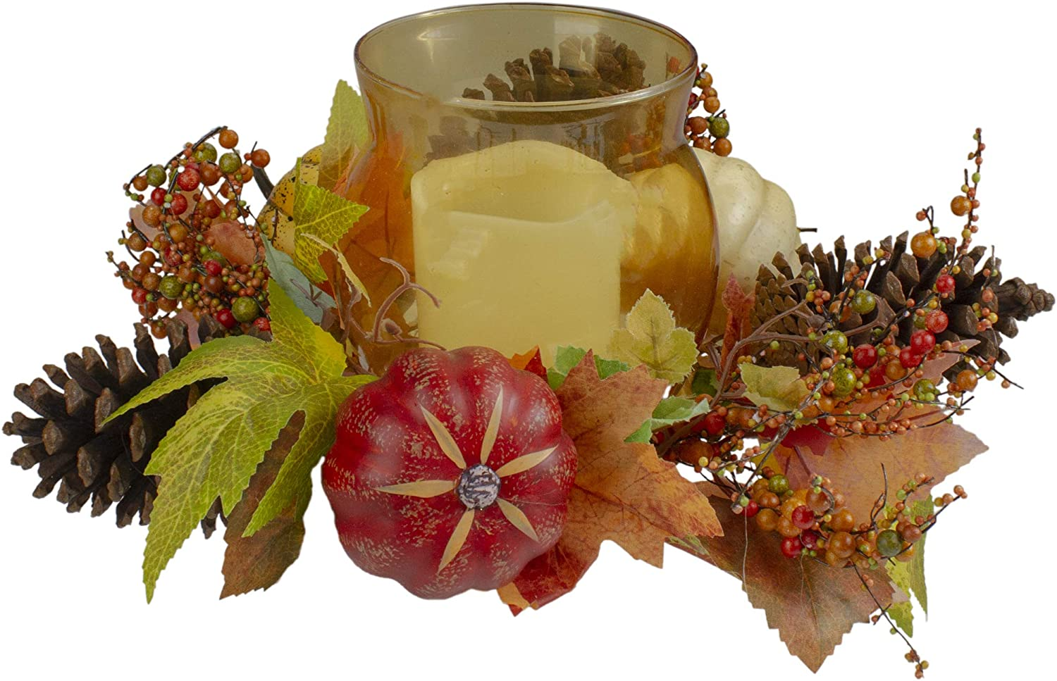 10 Pumpkin Berry and Pine Cone Fall Harvest Tealight Candle Holder