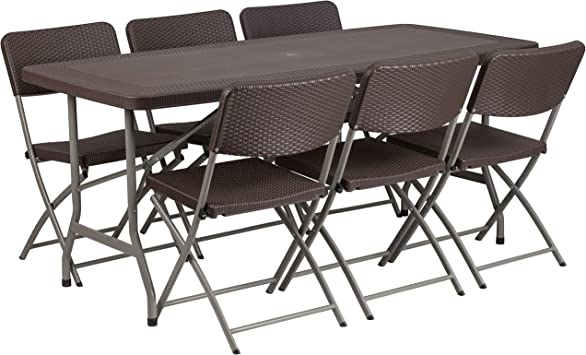 Amazon Com Flash Furniture 5 62 Foot Brown Rattan Indoor Outdoor Plastic Folding Table Set With 6 Chairs Table Chair Sets
