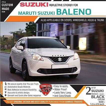 Carmetics suzuki stickers for baleno black 2pcs