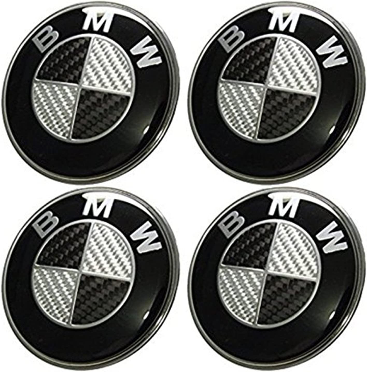 Black WHEEL CENTRE CAPS BLACK CARBON FIBRE 68MM SET OF FOUR Centre Caps Best Fit for BMW Wheels black
