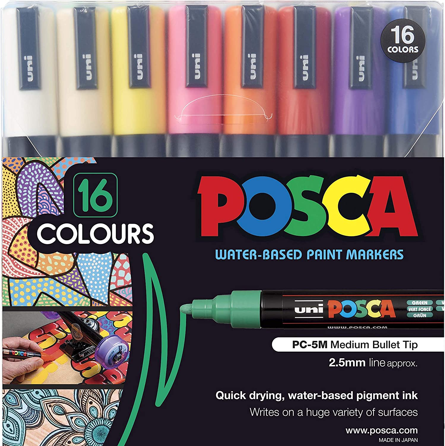 Assorted Colours Singles Uni Posca Coloring All Surface Paint Markers PC-8K