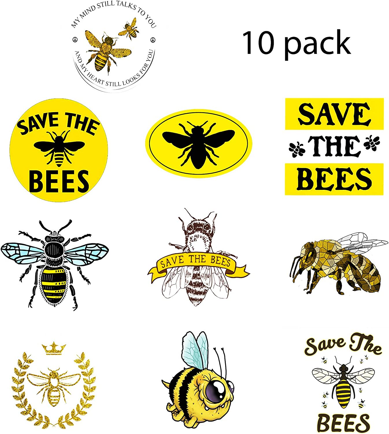 GTOTd Stickers for Save The Bees -10 Pcs Honey Bee Decal Vinyl Waterproof Stickers Skateboard Guitar Travel Case Sticker Door Laptop Luggage Car Bike Bicycle Helmet Stickers