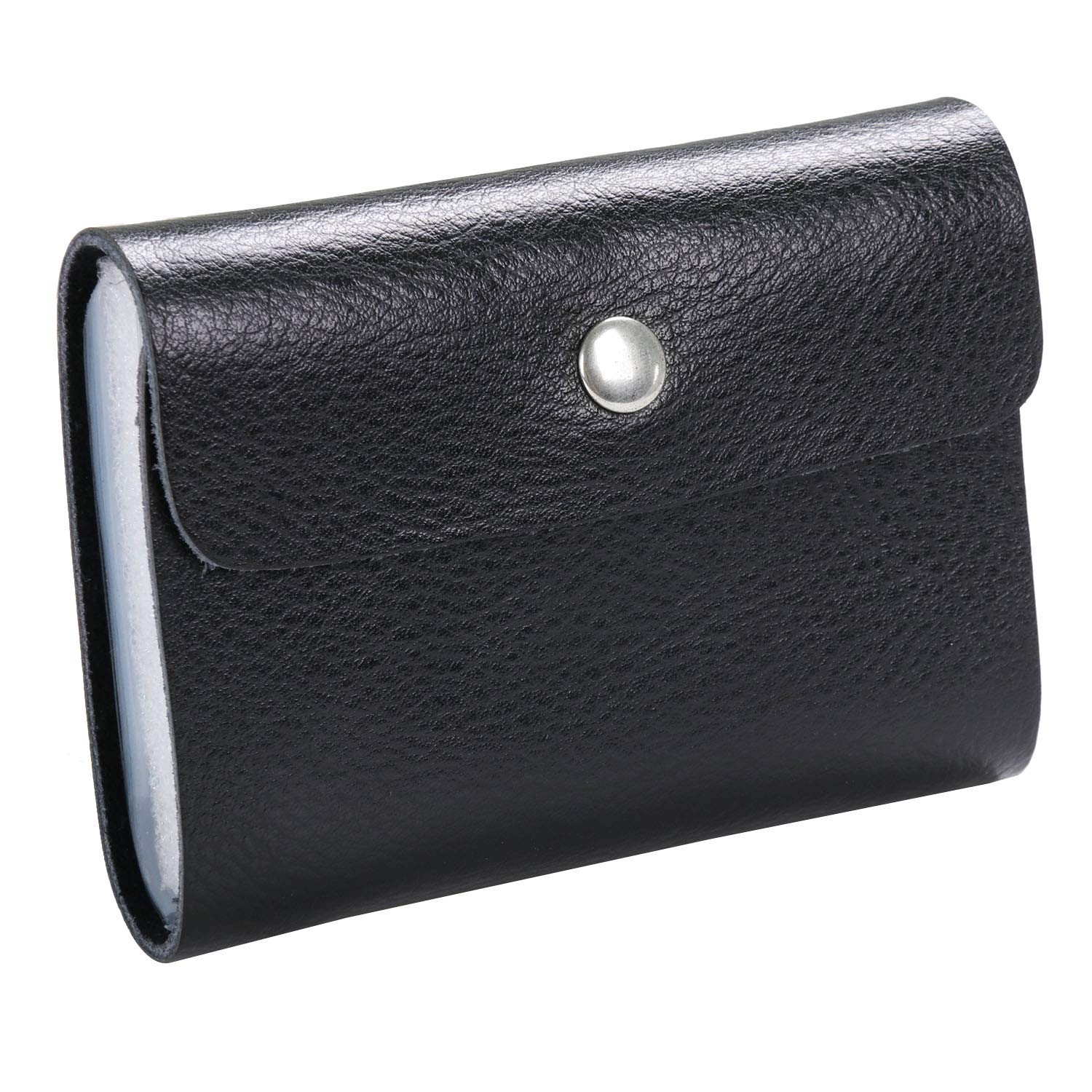 TRIXES Soft Black Faux Leather Credit Card Holder Wallet with 26 Clear Sleeves