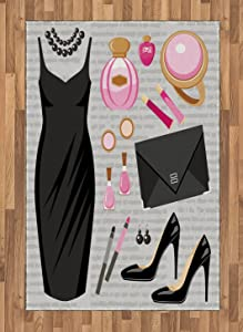 Ambesonne Heels and Dresses Area Rug, Black Smart Cocktail Dress Perfume Make up Clutch Bag, Flat Woven Accent Rug for Living Room Bedroom Dining Room, 4' X 5.7', Brown Pink