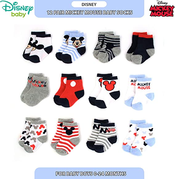 Disney Baby Mickey Mouse Shorts T shirt and Socks Outfit Set Age 6-24 Months