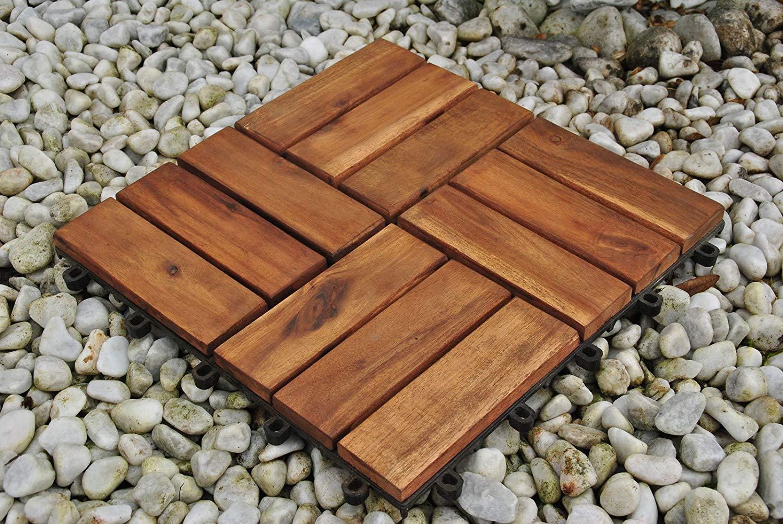 11er Set f/ür 1 m/² Bodenbelag mit Drainagesystem Garten-Fliese in 30x30 cm Giomoebel Holzfliese Variante 2 aus Akazien-Holz