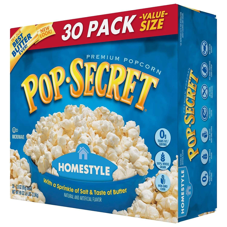 Amazon.com : Pop Secret Microwave Popcorn, Homestyle, 30 Count Box ...