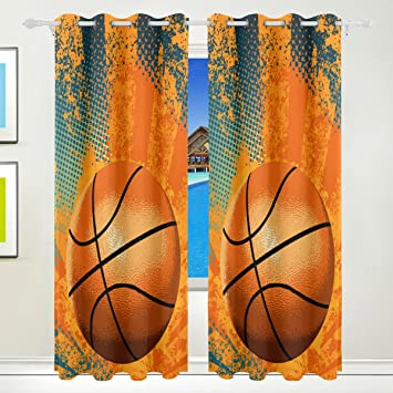 Ethel Ernest Cool Basketball Playing Window Blackout Curtains With Grommet 55W X 84L Inch