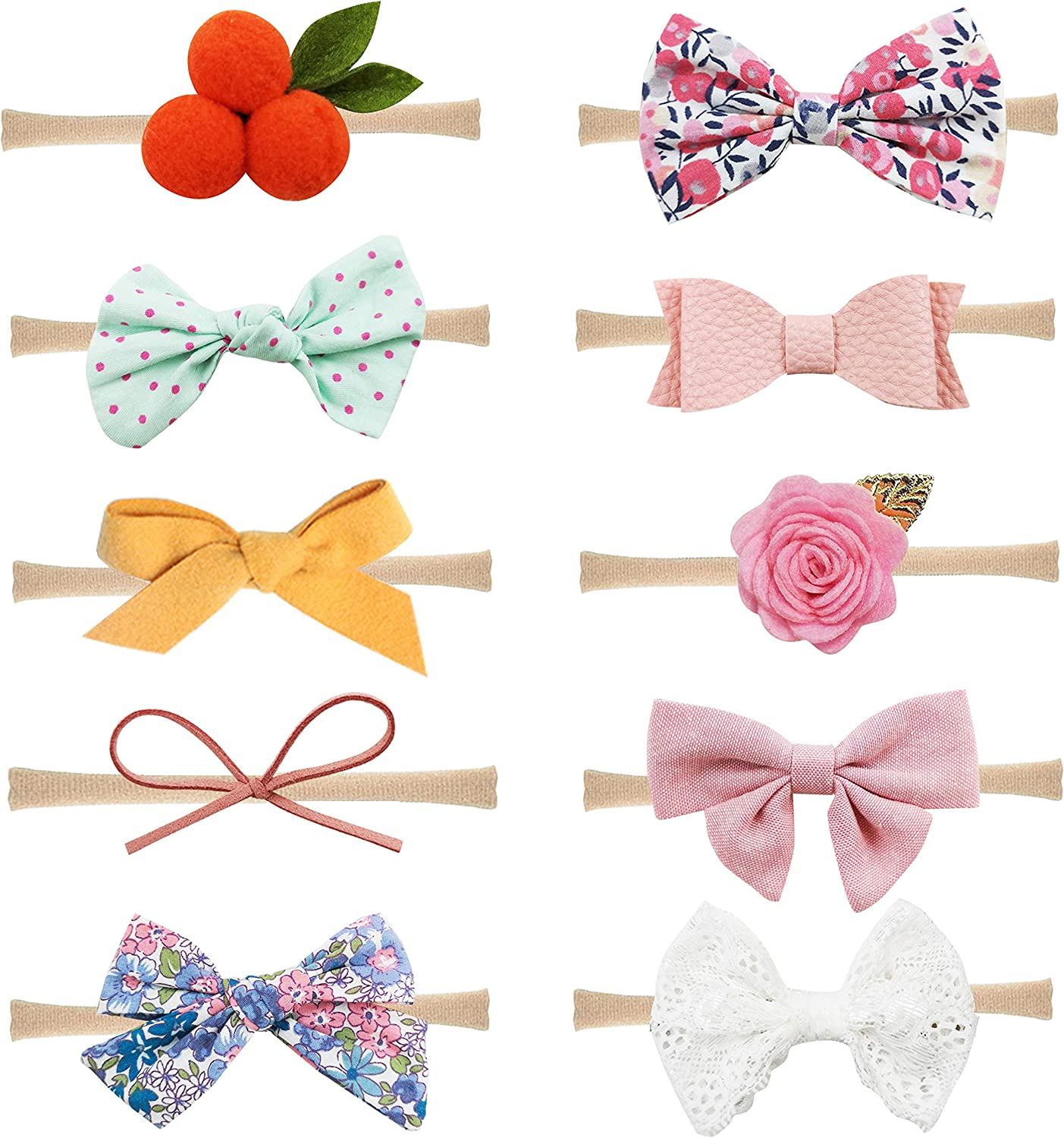 10PCS Baby Girl toddlers hairband Hair Bows Clips with elastic headbands Hot BE