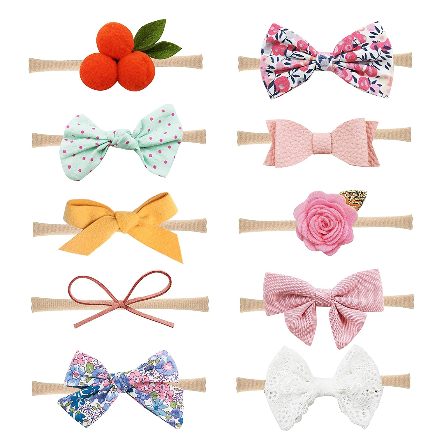 10 Pack Baby Girl Headbands and Bows