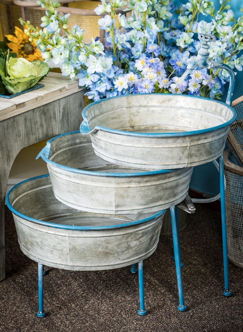 "Sullivans 27"" Galvanized Metal 3 Bucket Cascading Fountain -  - patio, outdoor-decor, fountains - 81Tjd 3dUUL -"