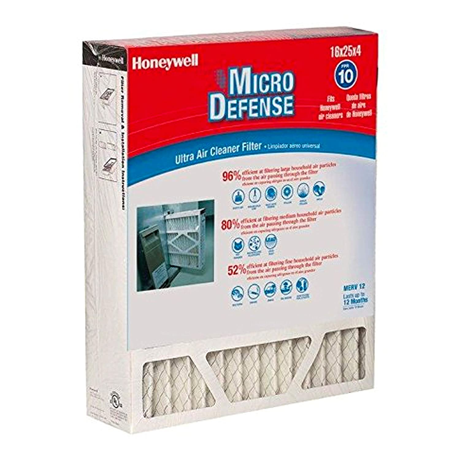 Honeywell Home 4-inch Ultra Efficiency Air Cleaner Filter, MERV 12 Rating, (CF200A1008)