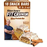 FITCRUNCH Snack Size Protein Bars | Designed by Robert Irvine | World's Only 6-Layer Baked Bar | Just 3g of Sugar & Soft Cake Core (18 Snack Size Bars, Cinnamon Twist)