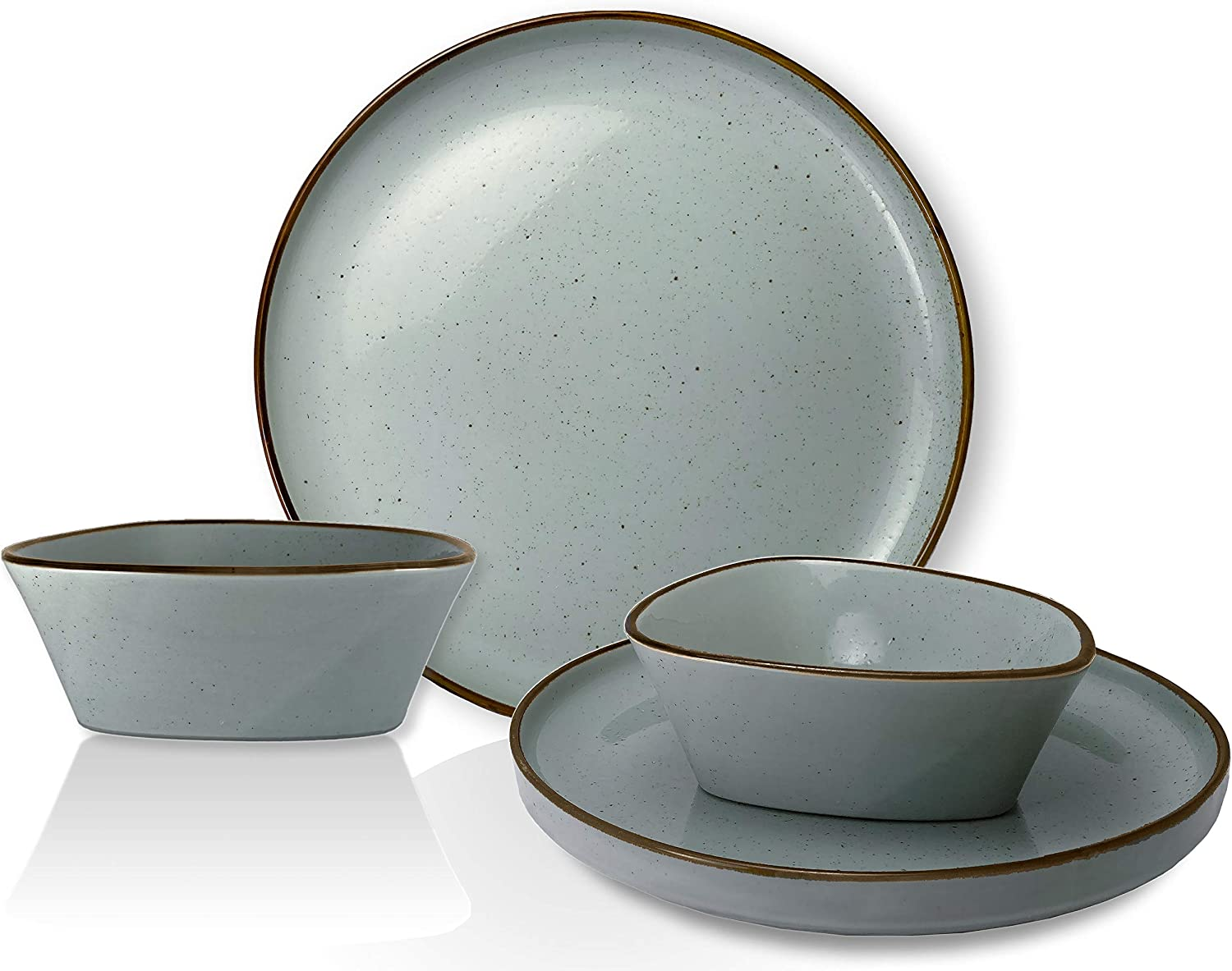 CK Home Rustic Farm, Modern Tray Plates and Bowls Dinnerware Set- 4 Essential Pieces. Porcelain Grey