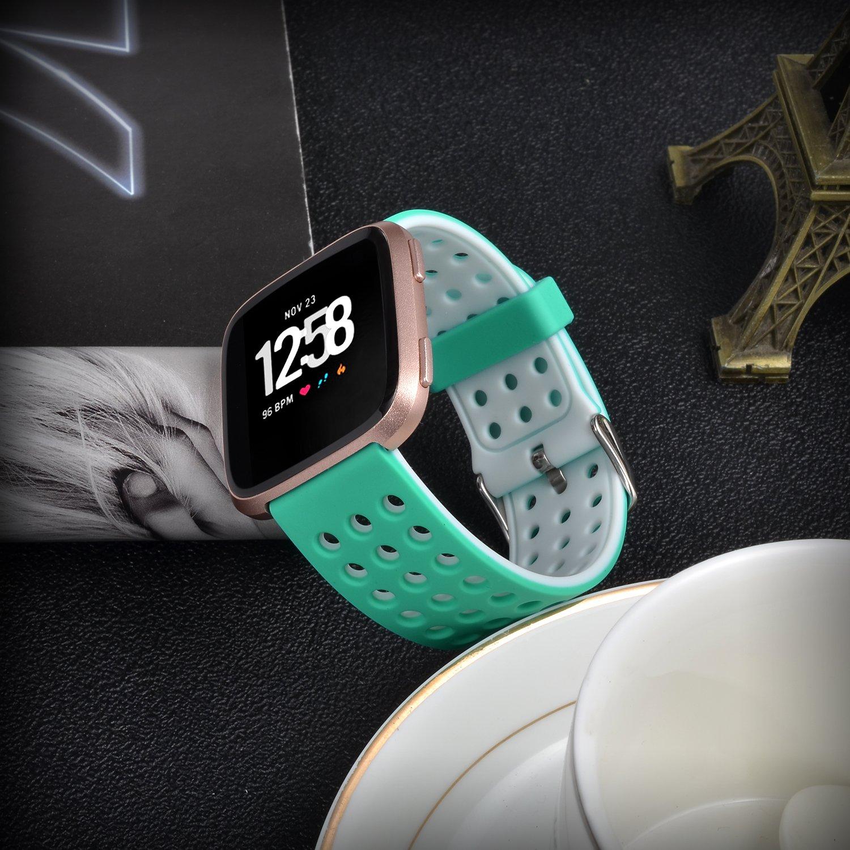 Moretek Versa Bands Replacement Accessory Breathable Sport Band Compatible for Fit Bit Versa Women Men Wrist Strap Fitbit Versa