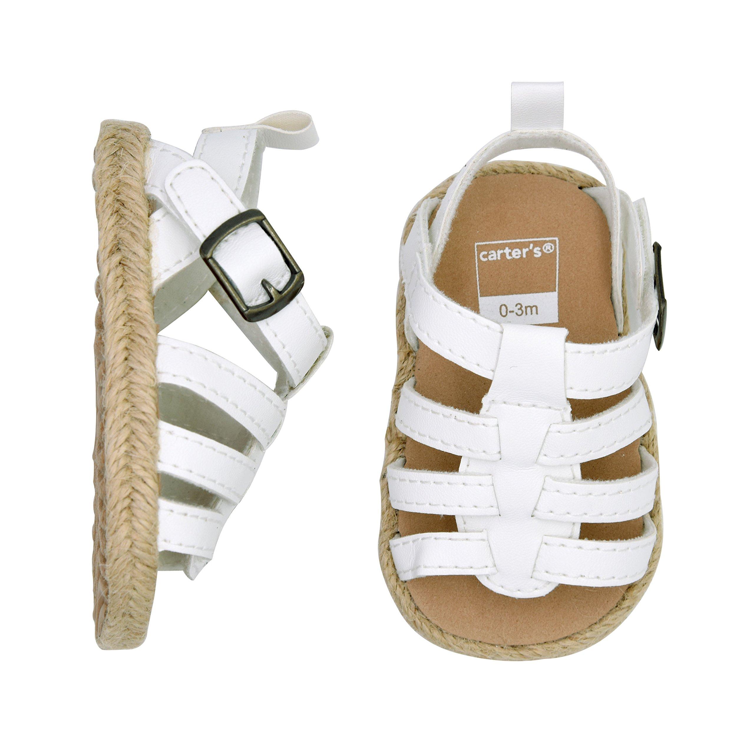 Carter's Girls' Strap Flat Sandal, White, 6-9 Months, Size 3 Regular US Infant