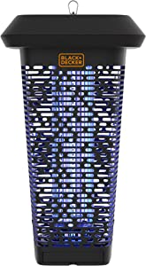 BLACK + DECKER Bug & Fly Zapper   Electric UV Insect Catcher & Killer for Flies and Gnats   Mosquito Repellent for Patio 2 Acre Outdoor Coverage for Home, Deck, Garden, Patio Commercial Strength