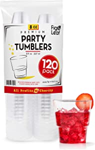 (120 Pack) - 8 OZ Clear Hard Plastic Cups Beverage Party Cup l Old Fashioned Crystal Clear Tumblers 8-Ounce l Disposable Reusable l Top Choice for Catering Wedding Drinking Birthday