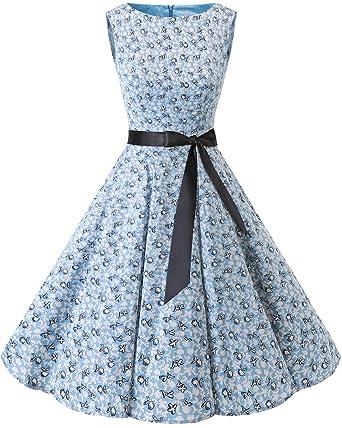 c9fb6586dc4 bbonlinedress Women s Sleeveless Vintage 1950s Rockabilly Cotton Floral  Cocktail Evening Swing Party Dress Little Flowers XS