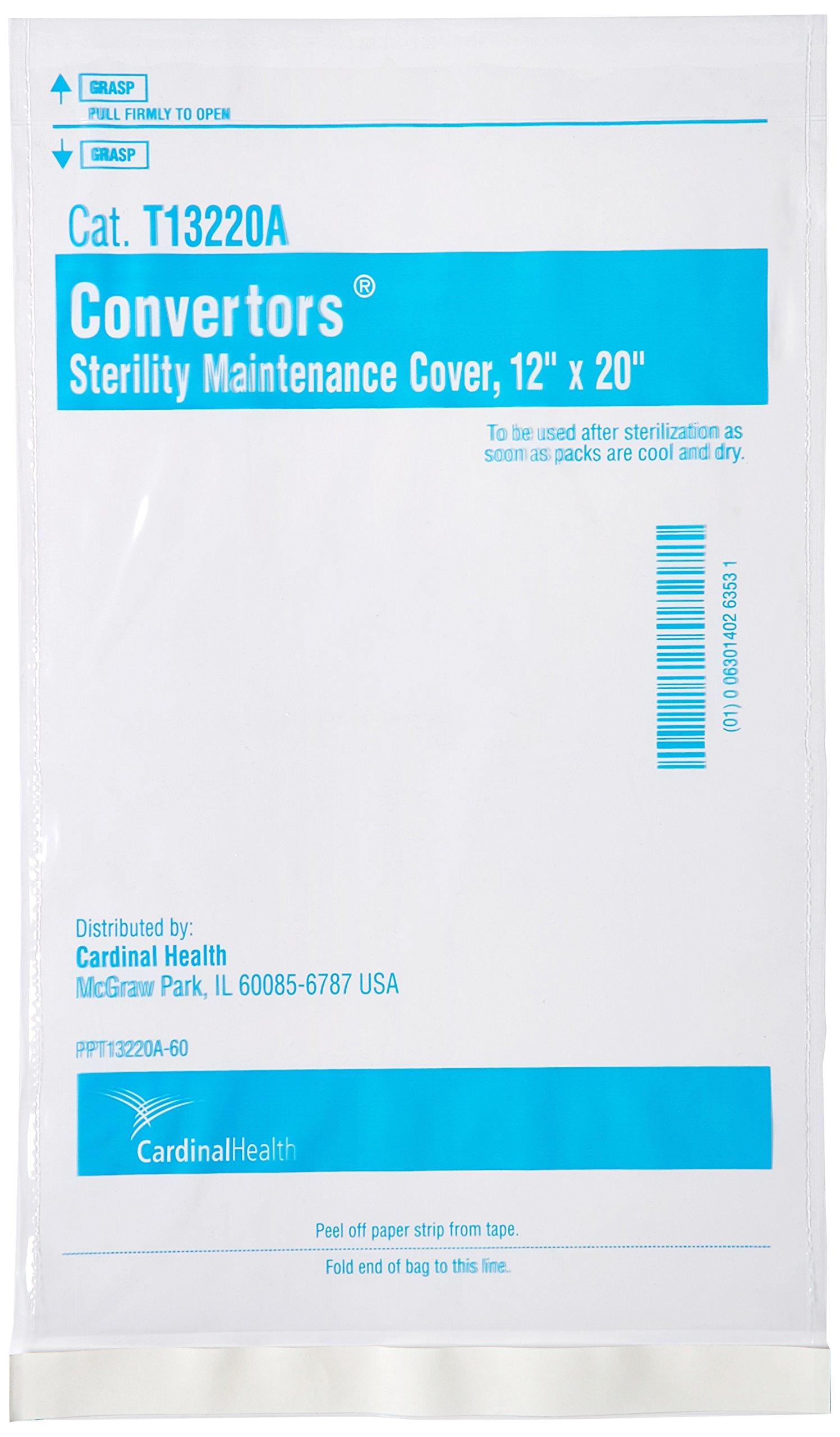 Cardinal Health T13220A Self Seal Flat Sterility Maintenance Cover, 12'' Width x 20'' Length (Case of 250)