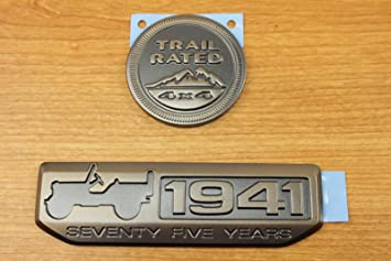 75th Anniversary 1941 Metal Car Emblem Badge for Jeep Wrangler Cherokee Willys