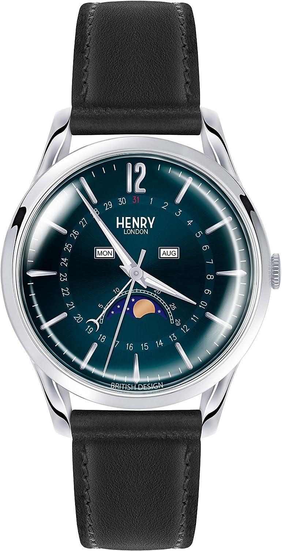 Henry London Reloj Fase Lunar para Unisex de Cuarzo con Correa en Cuero HL39-LS-0071
