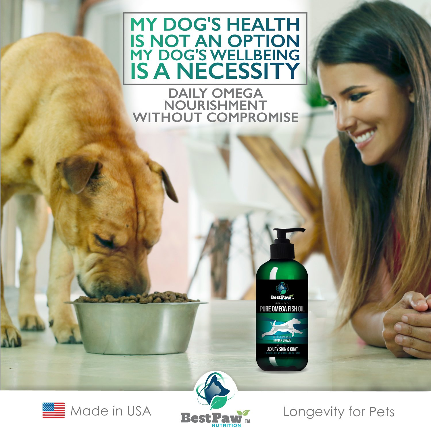 Fish Oil Omega 3 for Dogs, Cats, and Horses, Salmon Oil Food Supplement for Pets, Wild Alaskan 100% All Natural, Helps Dry Skin, Allergies, and Joints, Promotes Healthy Coat, Helps Inflammation, 8 oz by Pure Paw Nutrition (Image #4)