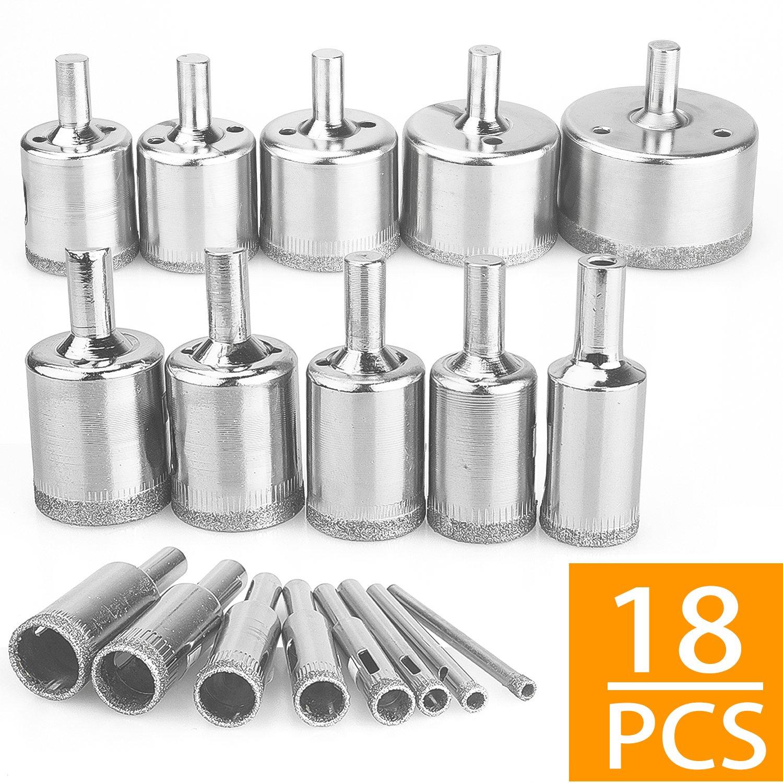 Diamond Hole Saws,18Pcs Diamond Drill Bits Hollow Core Drill Bits Set Extractor Remover Tools for Glass,Ceramics,Porcelain,Ceramic Tile,4-50mm(1/6''-2'')