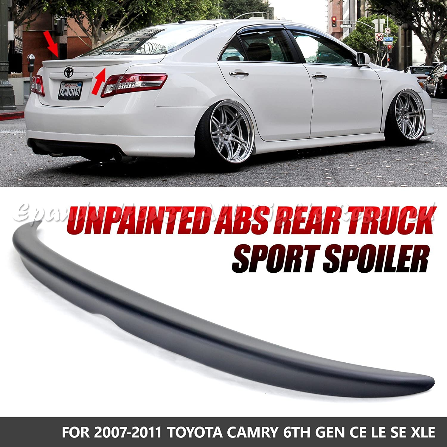 Amazon.com: EpandaHouse For 07-11 Toyota Camry ABS Unpainted Black Flush  Deck Rear Trunk Wing Spoiler Sport Racing Body Kit: Automotive