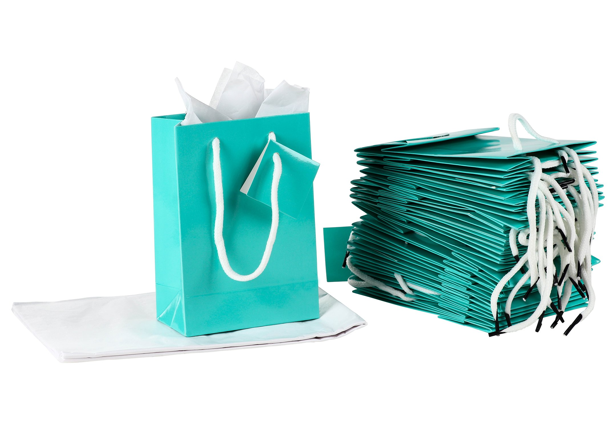Paper Gift Bag - 20-Pack Small Party Favor Bags, Mini Paper Bags, Tissue Paper Included, Glossy Finish Teal Color, 4.75 x 6.75 x 2.5 inches