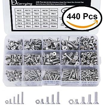 EDCarrying 440 PCS M3 M4 M5 304 Edelstahl Flach Kopf Innensechskant Cap Bolts Schrauben mit Muttern Sortiment Set fsn-440s /…
