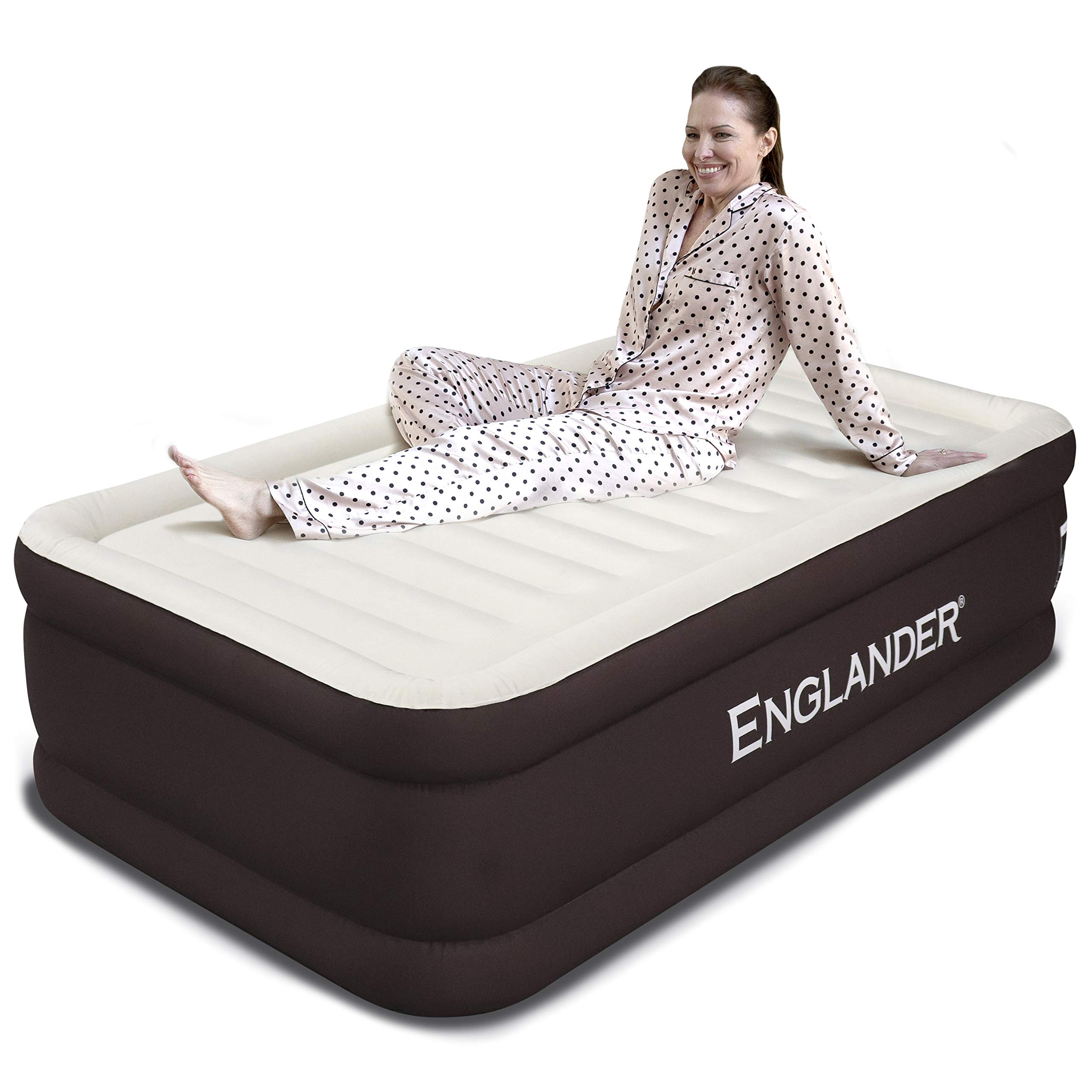 Englander First Ever Microfiber AIR Mattress Twin Size, Luxury Microfiber airbed with Built in Pump, Highest End Blow Up Bed, Inflatable Air Mattresses for Guests Home Travel 5-Year Warranty (Brown) by Englander
