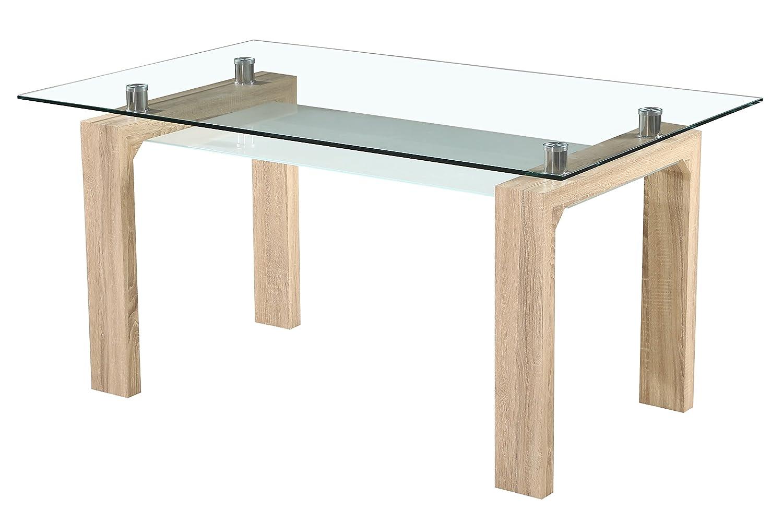 Mesa comedor rectangular con diseño minimalista y acabado cambrian y balda inferior.