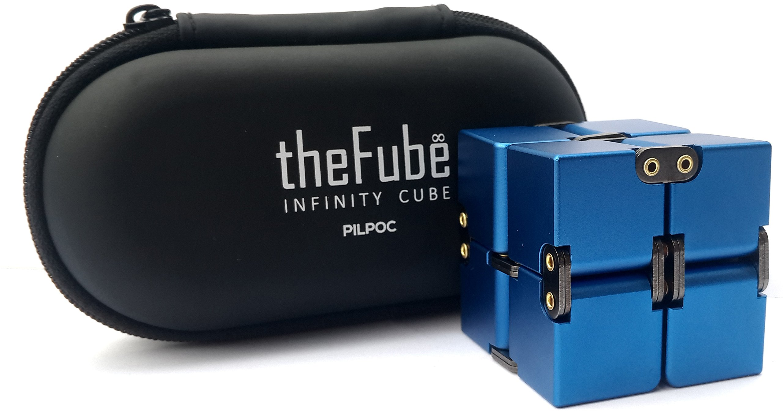 PILPOC theFube Infinity Cube Fidget Cube Desk Toy - Premium Quality Aluminum Infinite Magic Cube with Exclusive Case, Sturdy, Heavy, Relieve Stress and Anxiety, for ADD, ADHD, OCD (Blue)