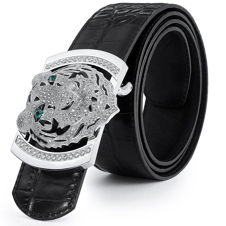 Men's Belts Luxury Genuine Leather Black Dress Belt for Men Alligator Pattern Tiger Plaque Buckle by PRINCE GERA (Image #2)