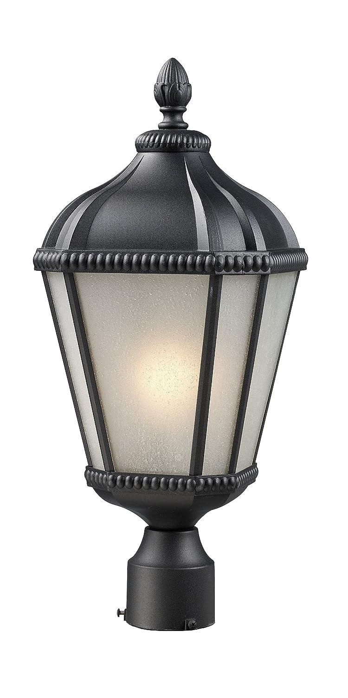 Z-Lite 513PHS-BK Waverly Outdoor Post Light, Aluminum Frame, Black Finish and White Seedy Shade of Glass Material by Z-Lite B005MIBF9K