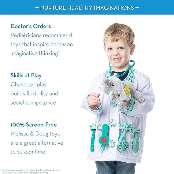 Melissa Doug 96022 Doctor Role Play Costume Dress Up Set 7 Pcs Frustration Free Packaging Toddler Multicolor