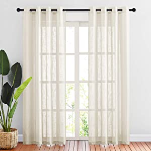"NICETOWN Linen Textured Sheer for Living Room - Grommet Top Design Semi-Translucent Voile Drapes 84"" Long for Guest Room / Patio / Sliding Door (Beige, 2 Panels =104"" W, 2 Panels per Package)"