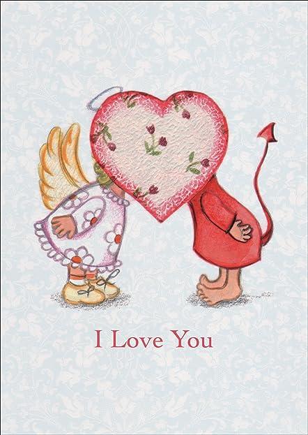 Romantische Liebeskarte Mit Engelchen Und Teufelchen Hinter Herz Nicht Nur Zum  Valentinstag: I Love You