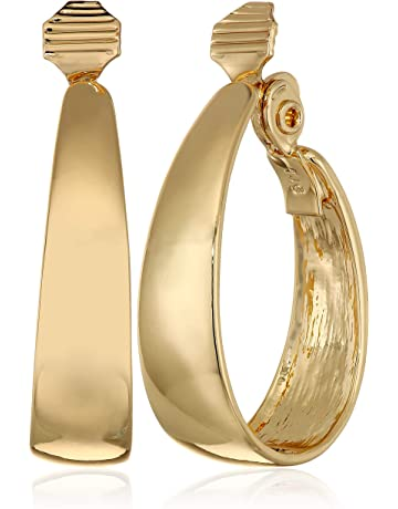 bf982faad Napier Women's Gold EZ Comfort Clip Oval Hoop Earrings