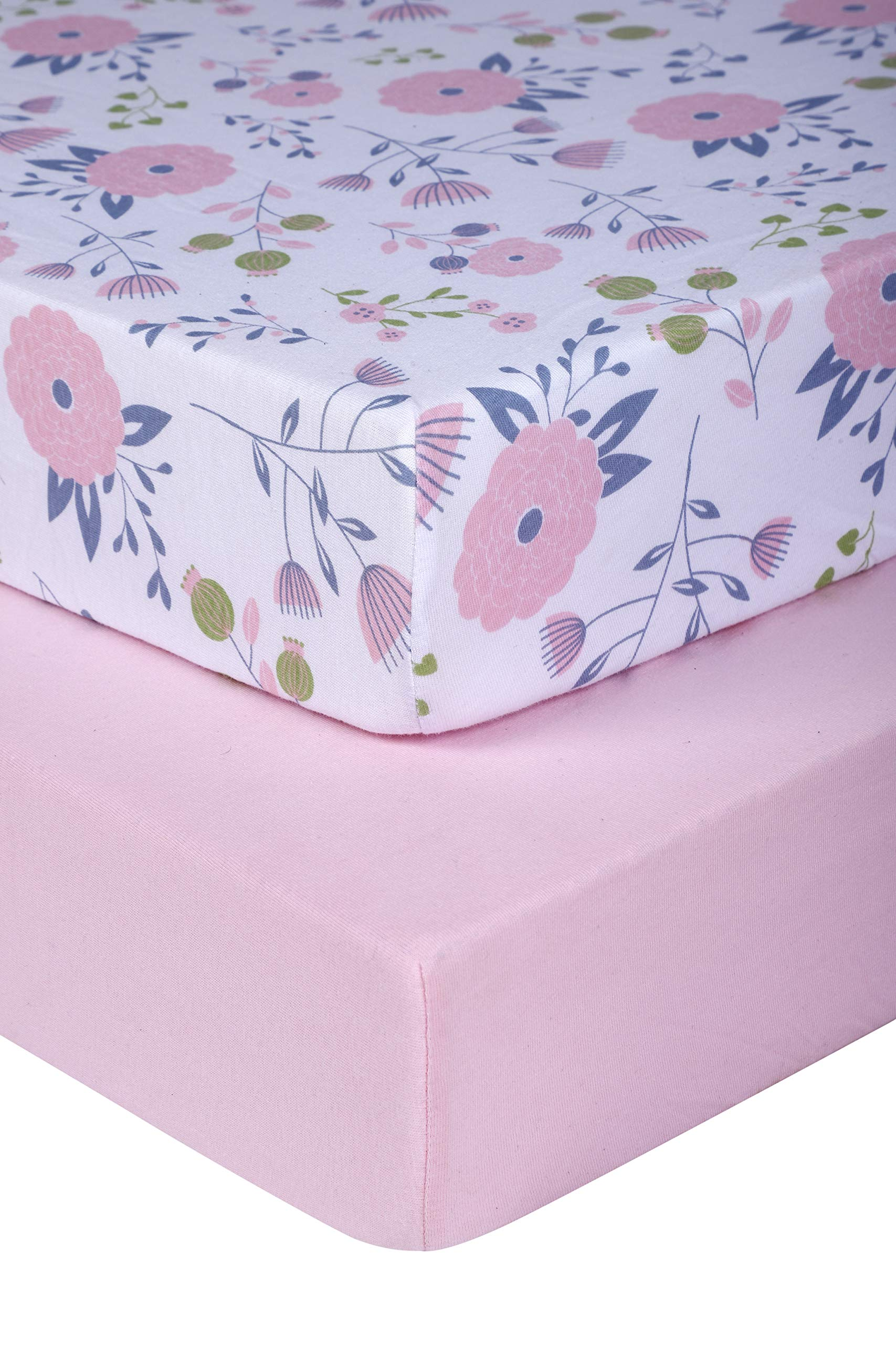 Pickle & Pumpkin Graco Pack n Play Mattress Sheet | 2 Pack Mini Crib Sheets in 100% Organic Jersey Cotton | Ideal as Pack and Play Mattress, Playpen or Playard Sheets | Pink & Floral Crib Sheet by Pickle & Pumpkin