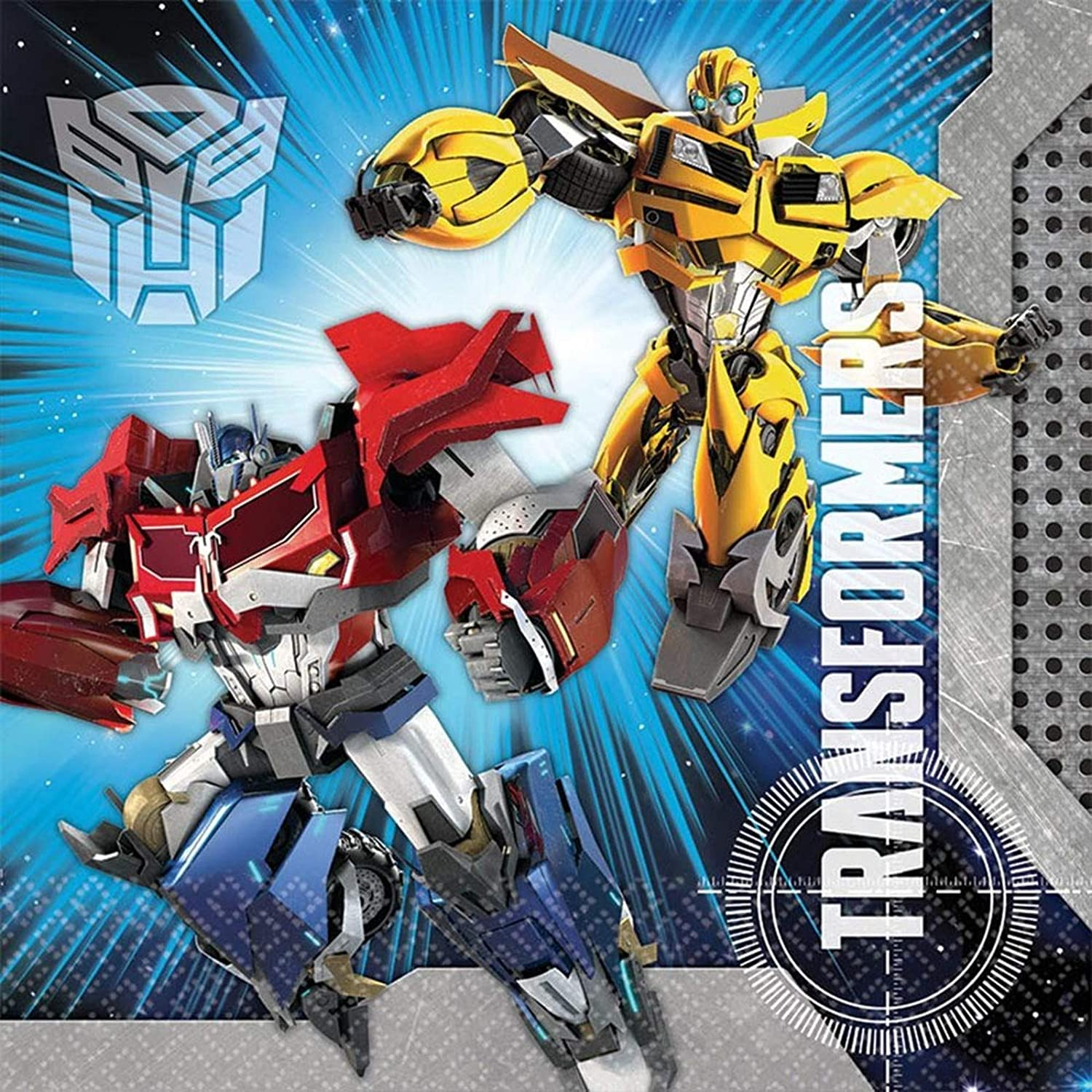 "B00LI0Y6W4 Mighty Transformers Birthday Party Luncheon Napkins , Pack Of 16, Blue , 6 1/2"" 81TjsTV0GZL"