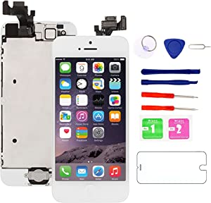 """iPhone 5 Screen Replacement White, 4.0"""" LCD Display Touch Digitizer Full Assembly with Home Button, Proximity Sensor, Ear Speaker, Front Camera, Screen Protector, Repair Tools for A1428, A1429, A1442"""