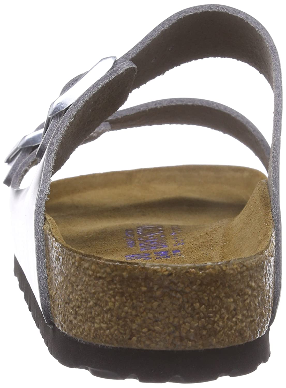 Birkenstock Arizona Soft Footbed Leather Sandal B079K4Y37K 41 N (US Men's 8-8.5 / US Women's 10-10.5)|Metallic Silver Sfb Leather