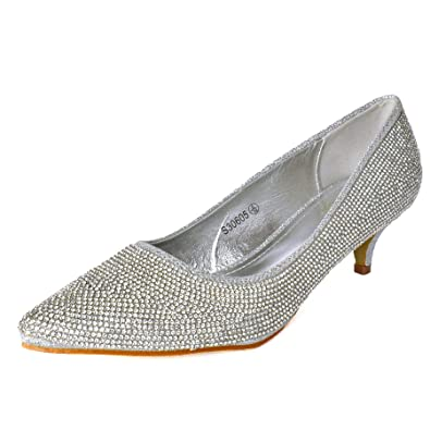 5fac00f694 Womens Silver Diamante Low Kitten Heel Pointed Toe Shoes Court Heels Pumps  Size[Silver,