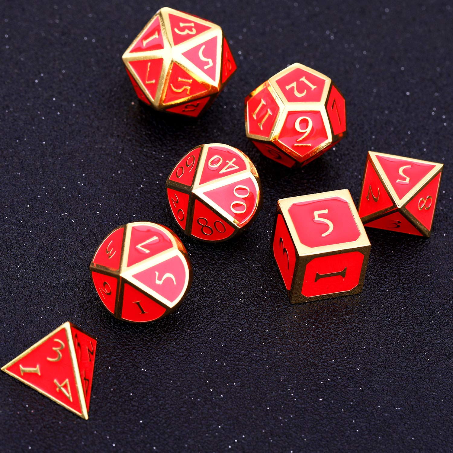 7 Pieces Metal Dices Set DND Game Polyhedral Solid Metal D/&D Dice Set with Storage Bag and Zinc Alloy with Enamel for Role Playing Game Dungeons and Dragons Black Edge Atrovirens Math Teaching