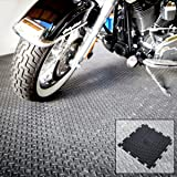BiGDUG Interlocking Vinyl Floor Tiles Flooring Checkerplate Surface 495 x 495mm Heavy Duty Gym Garage Schools Workshop (Checkerplate Tile 495 x 495mm)