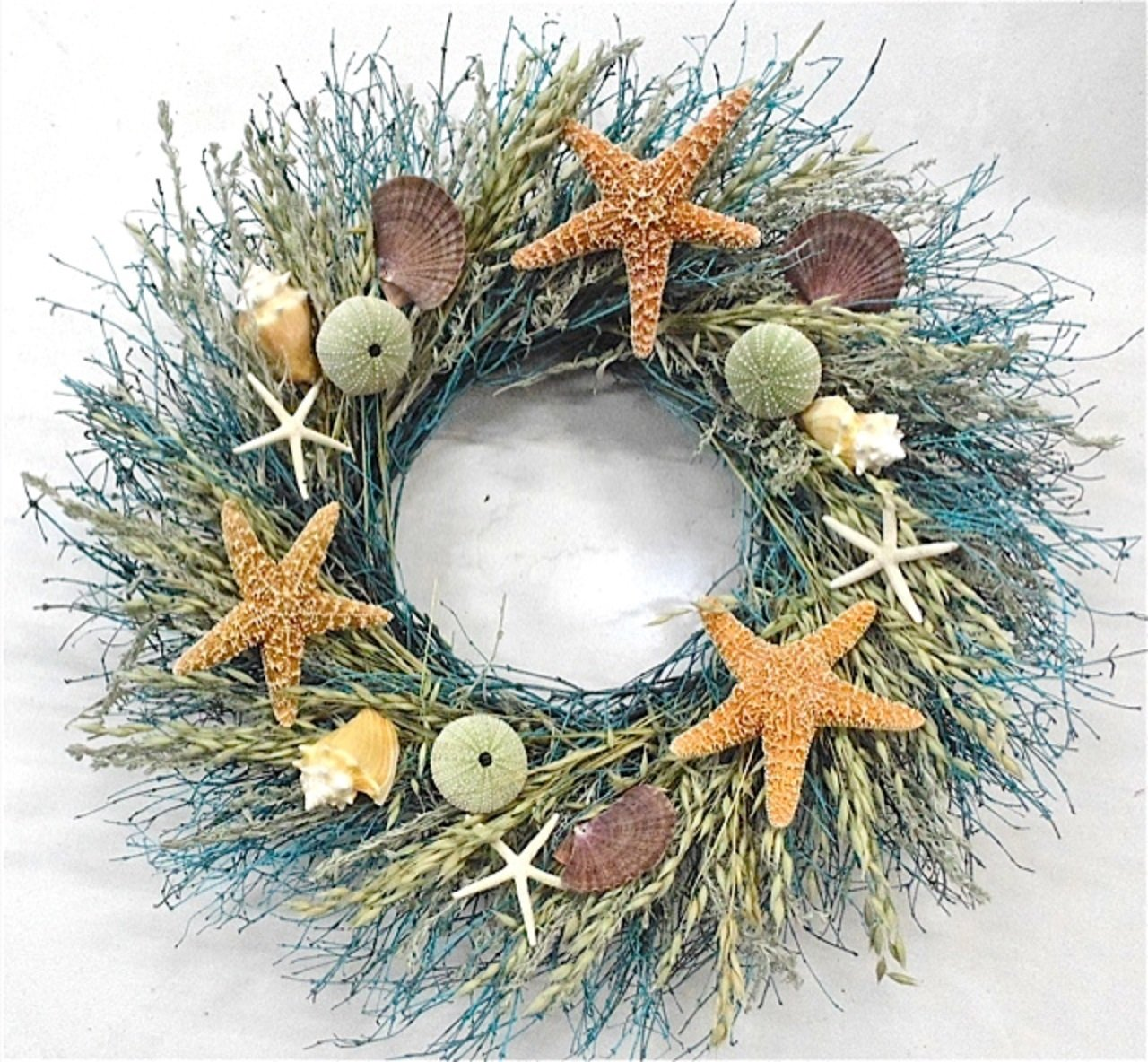 Amazon.com: Walk On The Beach Summer Door Wreath Sea Shells Starfish For  Coastal Cottage Kitchen Decor Use Indoors Or Outdoors: Home U0026 Kitchen